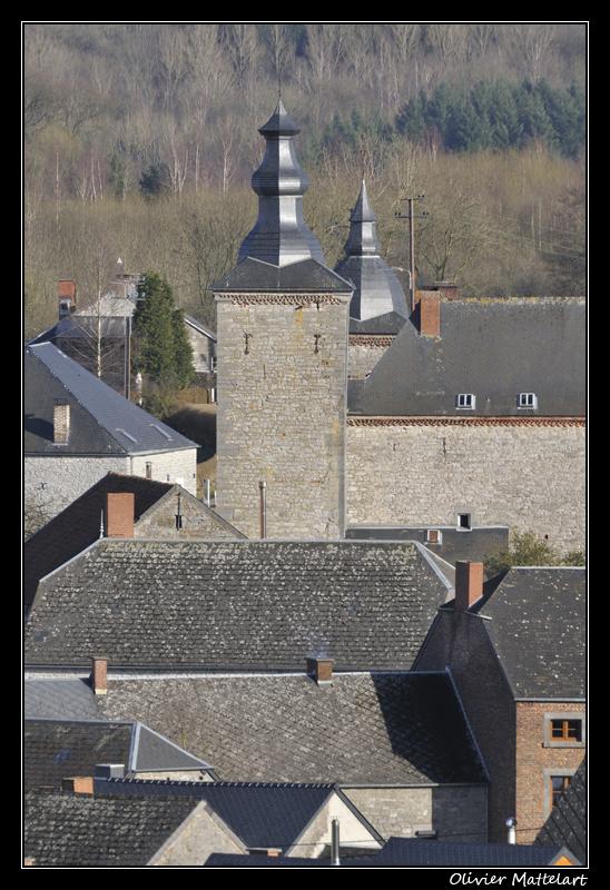 Falaën : toits du village et du château-ferme
