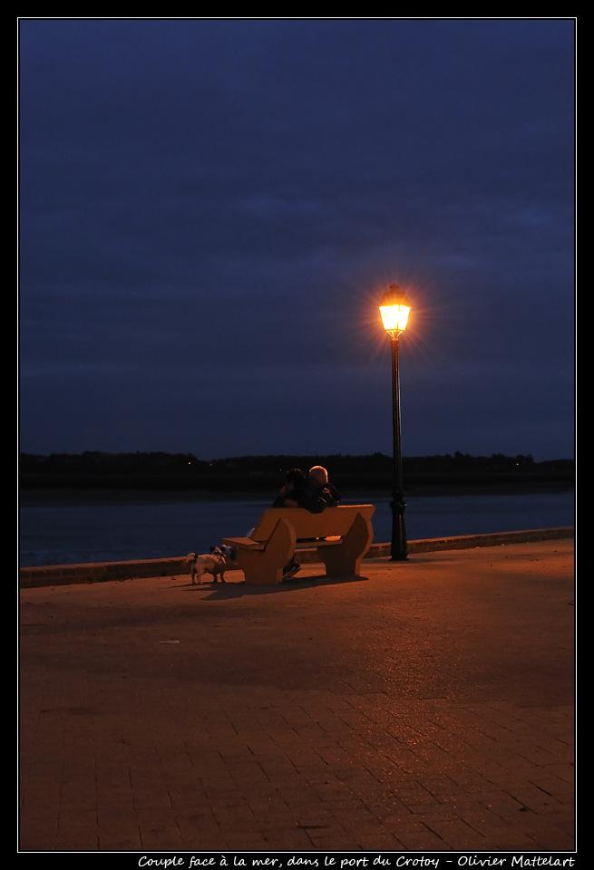 Le Crotoy : couple sur un banc, face à mer